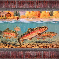 Autumn Rainbows Framed Print - This beautiful print has a hand embellished acrylic finish that gives it the feel and finish of an original painting. This finish is non-glare and protects the print from the environment so no glass is required.