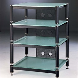 """VTI - Amp Stand/Audio Rack - 4-Shelf Audio Rack in Black Do you want to store your Audio Visual equipment in a strong, durable yet stylish rack? Look no further than VTI's BLG 404 Audio Rack line. The BLG404, securely holds your equipment on gorgeous tempered glass shelves that are supported by tough, two-tone, heavy gauge steel frames. Plus, the BLG 404 boasts a stackable structure with space for up to 6 additional shelves to store all your audio visual components. Worried about wire clutter? VTI solves that problem too, for these models have a back system designed to accommodate and conceal all wires. For true elegance and reliablity, choose VTI's BLG 404 Audio Visual Rack! Features: -Holds up to 27"""" TV set and three audio/video components -Can add up to six shelves -Stand consists of 1 x 3"""" (base), 2 x 7"""" (opening), and 1 x 9"""" (opening) -Additional shelves in either 7"""" or 9"""" openings are available -10 mm thick tempered glass shelves -Each shelf has a weight capacity of 300 lbs -No assembly required -Dimensions: 32.25"""" H x 23.5"""" W x 20"""" D -Choice of tinted black or frosted tempered glass shelves variations"""