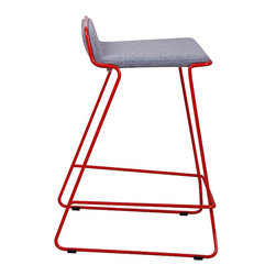 "Nuans Design - Bleecker Counter Stool, Light Grey Wool with Red Metal Frame, Counter Seat 25"" H - Bleecker Counter Stool"