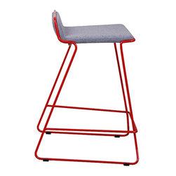 "Nuans Design - Bleecker Counter Stool, Light Grey Wool with Red Metal Frame, Counter Seat 25"" H - Bleecker Counter Stool"