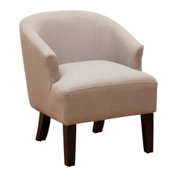 Great Deal Furniture - Luciana Linen Accent Chair, Grey - The Luciana Grey Accent Chair is a great piece for any room in your home. The rounded chair back design offers a modern touch of elegance while still retaining all of the comfort benefits of the classic chair. With a unique mod look this chair will make a statement as bold as the design.