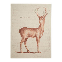 Stag No 60 Gallery - Our faithful reproduction of a 19th century stag pays testimony to nature. Butterflies, taken from an antique colored plate, flutter into a candid moment.