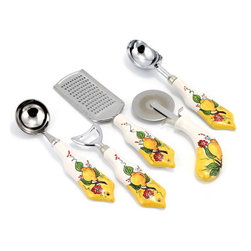 Artistica - Hand Made in Italy - LIMONE FIORE: Pre-Pack - Gravy Spoon Laddle + Bottle Opener + Grater + Pizza Whe - Our all new and exclusive Limone Fiore collection was inspired by the renowned Amalfi Coast lemons...