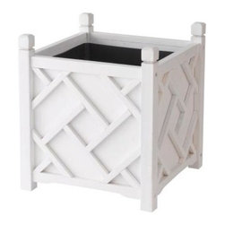 DMC 18-inch Square White Chippendale Planter - These Chinese Chippendale planters are such a classic. Add a pair to your outdoors.