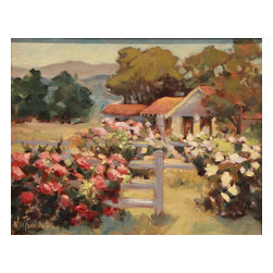 'Ranch Roses' Framed Oil Painting - Everything's coming up roses. Serenely beautiful, this original piece of artwork makes an excellent first impression. In fact, it's painted by a noted impressionist artist, Ellie Freudenstein, then mounted in a craftsman-style gilded wood frame.