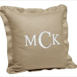 "Chunky Linen Ruffle Pillow Cover 18"", Flax - Linen's durable texture makes it the ideal fabric for a long-lasting pillow cover. 18"" square Pure linen. Decorated with a shirred flange. Reverses to self. Zipper closure; insert sold separately. Monogramming is available at an additional charge. Monogram will be centered on the pillow cover. Imported."