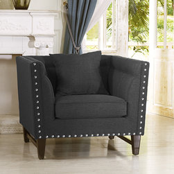 Baxton Studio - Baxton Studio Stapleton Gray Linen Modern Accent Chair - Finely tailored details sets the Stapleton Modern Arm Chair apart from the rest. This sumptuous seat is designed and constructed with abundant attention to every inch: a paneled backrest, matching linen piped seams.