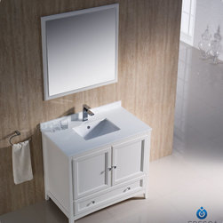 "Fresca - Fresca Oxford 36"" Traditional Single Sink Bathroom Vanity Set - Blending clean lines with classic wood, the Fresca Oxford Traditional Bathroom Vanity is a must-have for modern and traditional bathrooms alike. The vanity frame itself features solid wood in a stunning mahogany finish that's sure to stand out in any bathroom and match all interiors. Available in many different finishes and configurations."