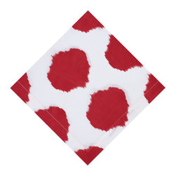 KAF Home - Ikat Red Dot Napkin, Set of 4 - This unique design is formed by binding bundles of threads with a tight wrapping applied in the desired dot pattern. A perfect option to complement your kitchen decor.
