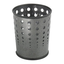 "Safco - Bubble Wastebasket (Qty.3) - Black - These puncture resistant, steel receptacles bring a contemporary and stylish look to any room. Bottom is recessed 1"" to provide air circulation in the event of fire. Rubber rib on top and bottom of basket helps to prevent from scuffing. The PVC clear plastic liner (included) prevents waste content from spilling.; Features: Material: Steel, PVC Plastic (Liner); Color: Black; Finished Product Weight: 3 lbs.; Assembly Required: No; Limited Lifetime Warranty; Dimensions: 11 5/8""Dia. x 12 1/2""H"