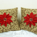 Etsy Items Summer 2012 - This is a set of two (2) pillows in harmonious colors of red, brown and khaki. The pillow is made with a thick upholstery fabric with a beautiful and subtle floral/leafy print. Centers of these pillows are adourned with red felt daisy flowers. A maple leaf button finished the ensemble. These are great for autumn-inspired decor. If you're looking to host a Thanksgiving party, or just brighten up your house, these are for you.