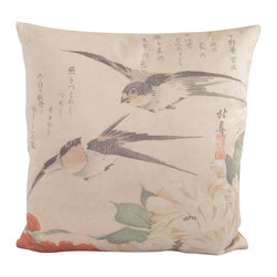 "Poetic Pillow - Swallows and Peonies, Teisai Hokuba, Poetic Pillow - • 20"" X 20"" square pillow"