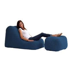 "Comfort Research - ""Comfort Research Wedge & Ottoman in Comfort Suede, Blue Sky"" - ""Lounge in style. The first and original patented memory foam bean bag style chair. The patented Fuf foam will not break down like old style bean bags. Engulf yourself in a cushion of Fuf.Dimensions (W x L x H): 27"""" x 45"""" x 32""""Weight: 25 lbs.Filled with super soft and long lasting fuf foam re-fuf again and again for custom comfortCovered in soft, durable fabricGreat for basements, bedrooms, dorm rooms, or even the family roomPlace it on its side for more of a lounge position or upright for more back supportAvailable in assorted colors"""