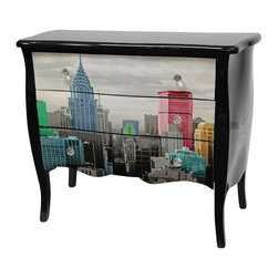 Oriental Furniture - Colorful NYC Three Drawer Cabinet - Sturdy three-drawer chest with Queen Anne style curved body and legs and scalloped top in a high luster black lacquer. Drawer faces feature a black and white city skyline with colorized skyscrapers in vivid hues. Drawer-pulls are cut glass.