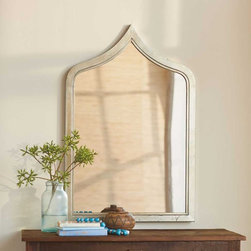 """Viva Terra - Moroccan Mirror - Mimicking the graceful top arch of our Taj bed, this exotic mirror features a recycled-metal frame. The brushed-silver finish is scored to lend it the character of a vintage accessory. Sized to make a statement without dominating the surroundings. 24""""W x 1.25""""D x 36.5""""H"""