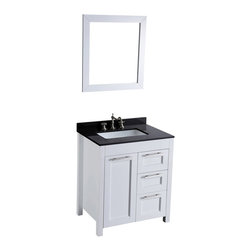 Bosconi - 30'' Bosconi SB-267-1 Vanity Set - You can park this good looking compact in the tiniest of bathrooms with ease. Standard features on your new vanity include a sleek, white base topped with black granite and matching mirror.