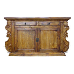 Koenig Collection - Old World French Sideboard Manchester, Torched Natural Brown - Manchester Sideboard, Torched Natural Brown
