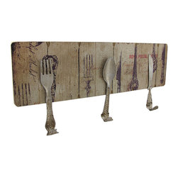 Wooden Wall Plaque with Antique Silverware Hooks - This wooden wall plaque features a fork, spoon, and knife that are bent into wall hooks. They`re great for hanging up aprons in the kitchen, or for hanging up your favorite utensils. This piece measures 15 3/4 inches long, 7 1/4 inches high, 1 1/4 inches deep, and easily mounts to the wall with 2 nails or screws by the keyhole hangers on the back.