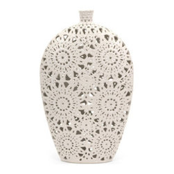 Grandin Road - Lacey Vase - Each size features a unique, open lace motif that provides an extraordinary level of lightness and beauty. Impeccably crafted from artist-quality ceramic. Pieces are finished in a versatile matte white that melds beautifully with a variety of decorative themes. Select a favorite or, better yet, get the pair. Masterful design and ingenious craftsmanship give artists' ceramic the look of elaborate lace-work in our striking Lacey Decorative Ceramic Vases. It's the little things that make the room, and nothing provides a finishing touch or fanciful focal point quite like these two complementing designs.  .  .  .  .