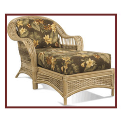 Rattan Chaise - Lounge in comfort and style in this beautiful rattan chaise.  Naps are totally allowed!  Pick a great fabric to cover your chaise from a great selection of available upholstery fabrics.  Great way to customized this piece for your home.