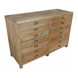 Kathy Kuo Home - Noah Industrial Loft Style 2 Drawer 2 Door Storage Sideboard - Storage for the dining area, drawers for a bedroom or cubbies for crafting, this antique lime-finished pine piece has it covered. With two deep drawers and double shelves behind matching doors, storage has never been so stylish. Subtle variations in color and wood grain, along with unique knots and imperfections make each piece an original.