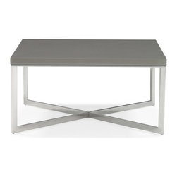 Zuri Furniture - Pilot High Gloss Chrome Square Coffee Table - Searching for that table that goes with almost everything and pulls a room together? A smart choice in taupe acrylic and chrome, The Pilot coffee table will make any living room take off in style and let everyone know you have ,indeed, arrived.