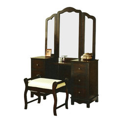 """Acme - 3 PC Espresso Finish Wood Large Size Bedroom Make Up Vanity Set with Tri - Fold - 3-Piece Espresso finish wood large size bedroom make up vanity set with tri - fold mirror and bench. This set features 3 drawers on each side of the vanity with a center shelf and a large tri - fold mirror and padded bench with upholstered seat. Vanity measures 52"""" x 18"""" x 33"""" H. Mirror measures 46"""" x 41"""" H. Stool measures 26"""" x 16"""" x 21"""" H. Some assembly required."""