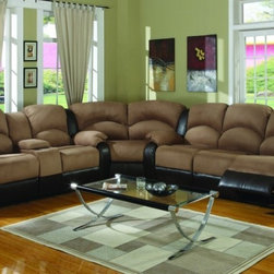 Carrie Ann Microfiber/ Leather Sectional Reclining Sofa - Includes Reclining Sofa, Reclining Loveseat and Wedge