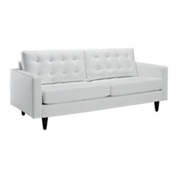 """LexMod - Empress Leather Sofa in White - Empress Leather Sofa in White - End the rule of unjust sovereignties that wage a useless war for your interiors. Empress leaves the would be heiress of holistic furnishings in the dust, with a design that rivals any competitor. Empress is heralded with deeply tufted buttons, plush cushions and armrests that convey that perfect air of nobility. The solid wood legs come with plastic glides to prevent floor scratching, and the bonded leather upholstery leaves the recipients feeling richly rewarded. Set Includes: One - Empress Leather Sofa Modern Sofa, Deeply tufted buttons, Bonded leather, Solid wooden legs, Glides to prevent scratching Overall Product Dimensions: 35.5""""L x 84.5""""W x 34.5""""H Seat Dimensions: 23""""L x 75""""W x 19""""H Armrest Dimensions: 4.5""""W x 6.5""""HBACKrest Height: 18.5""""H Cushion Thickness: 6""""H - Mid Century Modern Furniture."""