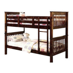"ACMACM02415 - Haley Walnut Finish Wood Mission Style Twin Over Twin Bunk Bed Set - Haley Walnut Finish Wood Mission Style Twin Over Twin Bunk Bed Set. Measures 82"" x 43"" x 65""H. Some assembly required."
