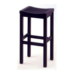 HomeStyles - 29 in. Barstool in Black Finish - Sit in comfort and style with this attractive backless barstool. Its saddle seat design features multiple slats in a contouring configuration over a simple square shaped base. Its solid wood construction is durable and sturdy, and comes in a classic black finish. The distinctive Black Finish Backless Black Wooden Bar Stool stands 29 inches high and displays a rich Black finish over sturdy solid wood construction. The sleek design of this backless barstool will not go unnoticed when you bring one or even a set of these stools into your home. * Contoured shaped seat. Clear coat finish helps to protect against wear from normal use. Made from Asian hardwood. Made in Thailand. 15.75 in. W x 13.75 in. D x 29 in. HOur casually styled, black finished bar stool is designed to work in a variety of decorating schemes.