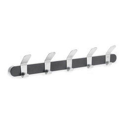 "Blomus - Venea Wall Hooks - Black - 5 hook rack is made of brushed stainless steel with a white or black inlay.  Hardware included. Dimensions: 19.75""L x 2.36""W x 3.35""H"