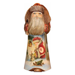 """Artistic Wood Carved Santa Claus Christmas Fun Sculpture - Measures 8""""H x 3""""L x 4.5""""W and weighs 2 lbs. G. DeBrekht fine art traditional, vintage style sculpted figures are delightful and imaginative. Each figurine is artistically hand painted with detailed scenes including classic Christmas art, winter wonderlands and the true meaning of Christmas, nativity art. In the spirit of giving G. DeBrekht holiday decor makes beautiful collectible Christmas and holiday gifts to share with loved ones. Every G. DeBrekht holiday decoration is an original work of art sure to be cherished as a family tradition and treasured by future generations. Some items may have slight variations of the decoration on the decor due to the hand painted nature of the product. Decorating your home for Christmas is a special time for families. With G. DeBrekht holiday home decor and decorations you can choose your style and create a true holiday gallery of art for your family to enjoy. All Masterpiece and Signature Masterpiece woodcarvings are individually hand numbered. The old world classic art details on the freehand painted sculptures include animals, nature, winter scenes, Santa Claus, nativity and more inspired by an old Russian art technique using painting mediums of watercolor, acrylic and oil combinations in the G. Debrekht unique painting style. Linden wood, which is light in color is used to carve these masterpieces. The wood varies slightly in color."""