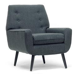 "Baxton Studio - Baxton Studio Levison Gray Linen Modern Accent Chair - Beautify your home in one simple step with the Levison Designer Accent Chair. This simple, classic living room chair is made in China with a sturdy MDF frame, firm fire retardant foam cushioning, and black birch wood legs with non-marking feet. Gray linen upholstery is a trendy neutral to complement any interior. We recommend the Levison Chair is spot cleaned. Minor assembly is required. Levison is also offered with beige linen (sold separately). 35.75""W x 31.12""D x 35""H, seat dimension: 30""W x 20""D x 16""H"