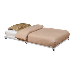 None - K&B TR02-W White Trundle Bed - Ideal for use when guests come and space is limited,this durable trundle bed can hold up to 500-pounds. It comes on roller wheels so the bed can easily be moved around where you need it,and it folds up when not in use for easy storage.