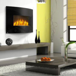 """Napoleon - Napoleon 32-Inch Curved Black Wall Mount Electric Fireplace - EFC32H - The Napoleon 32"""" Curved Wall Mount Electric Fireplace oozes contemporary charm at a very affordable price. The elegant curved design speaks volumes about its modern aesthetic, while state of the art LED technology provides realism and energy efficiency. The convenient """"plug and play"""" model is easily mounted with an included bracket and uses a standard 120v outlet for operation. It includes a paintable cord cover to ensure your room is matched perfectly, but can be hardwired if you'd prefer."""