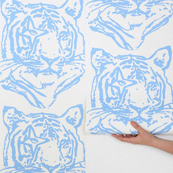 Aimee Wilder Tiger Wallpaper, Blue - Designed by the talented Aimee Wilder, this tiger wallpaper is hand-silk-screened onto clay-coated paper and manufactured with responsibly sourced fibers.