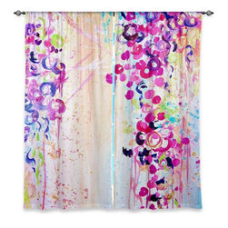 "DiaNoche Designs - Window Curtains Lined - Julia Di Sano Dance of the Sakura - Purchasing window curtains just got easier and better! Create a designer look to any of your living spaces with our decorative and unique ""Lined Window Curtains."" Perfect for the living room, dining room or bedroom, these artistic curtains are an easy and inexpensive way to add color and style when decorating your home.  This is a woven poly material that filters outside light and creates a privacy barrier.  Each package includes two easy-to-hang, 3 inch diameter pole-pocket curtain panels.  The width listed is the total measurement of the two panels.  Curtain rod sold separately. Easy care, machine wash cold, tumbles dry low, iron low if needed.  Made in USA and Imported."