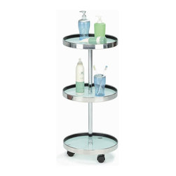 New Spec - Bathroom Utility Cart w Tray - Color/Finish: Frosted/Silver. Material: Glass/Metal. Tray With Multi Function. . 13.19 in. L x 27.56 in. H (12 lbs)