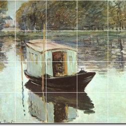 Picture-Tiles, LLC - The Studio Boat Tile Mural By Claude Monet - * MURAL SIZE: 24x30 inch tile mural using (20) 6x6 ceramic tiles-satin finish.