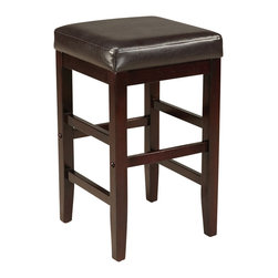 Standard Furniture - Standard Furniture Smart Stools Square Stool w/ Brown Leatherette Seat - 24 Inch - Smart Stools, like their name says, are smart additions to any kitchen or casual dining space offering compact and versatile seating options.