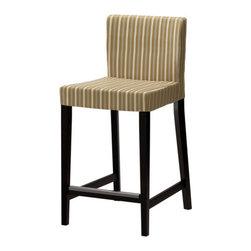 Karl Malmvall/IKEA of Sweden - HENRIKSDAL Bar stool with backrest - Bar stool with backrest, brown-black, Linghem light brown