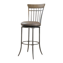 Hillsdale Furniture - Hillsdale Charleston Vertical Spindle Back Bar Stool in Desert Tan - The Charleston ladder back swivel stool features 3 rungs in the rustic desert tan finish, enhanced by the dark grey metal and brown faux leather seat. Appealing alone or combined with the Charleston dining collection.