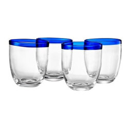 Artland Inc. Festival Cobalt DOF Glasses - Set of 4 - A winning combination of graceful lines and upscale appeal, the Artland Inc. Festival Cobalt DOF Glasses - Set of 4 is perfect for special occasions or everyday use. Evoking a true artisan look and feel with its beautiful cobalt blue glass rim, this set is sure to invite plenty of compliments from your guests. The tinted rim adds a splash of color and style to your table setting, without you having to worry about peeling, chipping, or fading paint. Dishwasher-safe.