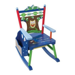 Levels Of Discovery Owls Rocker - Your child will love reading, whether they're still looking at pictures or sounding out their first words, with the Levels Of Discovery Owls Rocker. Beautifully designed, this rocking chair features a tree with an owl back and the words, Look Whoo's Reading Now! across the back. Added to that, a special poem on the seat reads, Give me a book and a quiet nook 'cuz reading is a hoot!. Attached to the right arm is a book rack that not only keeps your child's favorite books handy, but also helps to keep their room or playroom neat and organized. Bold colors easily match any decor and is perfect for boys and girls alike. Underneath the seat is an under stamp that allows the giver to personalize this rocking chair with the child's name, the name of the giver, and the special occasion when the chair was given. Designed for children ages three to six, and able to hold up to 100 pounds, this rocking chair also includes a photo greeting card so your child can send a personalized thank you note. Additional Features Sweet poem written on seat Durable attached book rack Includes a photo greeting card Understamp beneath the seat Sender can personalize the chair as a gift About Levels of DiscoveryAfter spending years as a product developer and president for companies like Enesco, the Franklin Mint, and Hallmark, Jeff Hutsell decided to devote himself to creating innovative, unique, and fun furnishings made especially for children. The resulting company, Levels of Discovery, now strives to design pieces that are more than simply pieces of heirloom-quality furniture. Each piece features unexpected details that will surprise and delight children and parents alike. Playful themes and hidden features, like music boxes, picture frames, or time-out timers, elevate rocking chairs, benches, tables, and other pieces into treasured works of art that will define your youngster's childhood. The end results are beautiful, hand painted masterpieces that are sure to become instant family treasures.