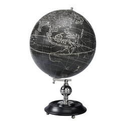 Authentic Models - Vaugondy 1745 Noir - A contemporary classic. 1700s Vaugondy globe is displayed on ebonized wood stand accented in nickel-plated brass. Black and ivory gores are applied to the globe core by hand with authentic construction and detail.
