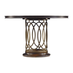 Stanley - Avalon Heights Neo Deco Pedestal Table - Interlocking metal ovals create a transfixing base for the Neo Deco Pedestal Table. Reflecting the love of symmetry celebrated in Art Deco works, the ringed motif imparts an open and airy appeal to the table's base. The round, fixed top is the ideal location to highlight the gorgeous splendor of the collection's signature use of mapa burl wood. Combined, the metal and wood produce a design that is inspired by the past, yet completely current.