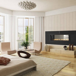 Heat & Glo RED 40 See-Through Gas Fireplace - The RED 40 spreads stunning style and impressive heating power into two different rooms. It's a staple of the Heat & Glo modern collection, and blends unique RED (Rectangular European Design) elements with advanced technology.