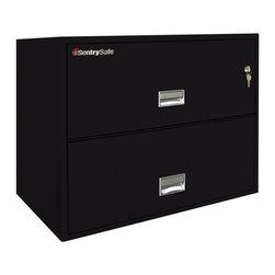SentrySafe - SentrySafe L3610 Insulated 2 Drawer Lateral Filing Cabinet - 36 Inch - 2L3610B-C - Shop for File and Storage Cabinets from Hayneedle.com! Store poster-sized documents horizontally or organize all of your letter and legal size documents in one convenient space with the SentrySafe L3610 Insulated 2 Drawer Lateral Filing Cabinet - 36 Inch. This spacious and sleek cabinet is constructed from heavy-duty metal that's been thoroughly insulated against dust and debris and provides phenomenal fire protection. This could be anything from a full hour in 1700 degrees Fahrenheit or a severe temperature increase like that of a small explosion. It's so durable that even a 30-foot drop cannot impact this sturdy cabinet's frame. And to provide maximum security a plunger key lock has been included to secure both drawers from light fingered thieves. Each of these drawers opens with easy-to-use recessed handles with label holders and accommodates letter- and legal-size hanging file folders. The overall dimensions of this unit are 35.8W x 20.5D x 27.6H inches. Available in your choice of black gray light gray sand tan and putty finish.Shipping OptionsDock-to-Dock Freight ServiceNo additional charge. Dock-to-dock includes commercial freight delivered to a commercial loading dock. Recipient is responsible for unloading product final placement unpack and debris removal. Not available for residential deliveries.Curbside DeliveryDelivery personnel will present goods to ground level at rear of delivery vehicle. Recipient is responsible for final movement of goods unpack and debris removal. Curbside delivery will not bring the item up to a residence.Threshold ServiceDelivery personnel will remove goods from truck and place goods inside first exterior doorway garage or carport. Service includes up to four steps exterior to the first doorway. Customer is responsible for final product placement unpack and debris removal. Inside Delivery ServiceDelivery personnel will remove goods from truck place goods in your room of choice and complete unpack and debris removal. Includes lift gate service and stair carry of 0-4 internal and external steps. Does not include site preparation or protection.About SentrySafeFor over three generations family-owned SentrySafe has been with you protecting your valuables providing you peace of mind. SentrySafe uses rigorous testing standards to ensure your items are protected from fire water and theft. They offer safes in a wide range of sizes and types and continue to innovate protection technology. They are proud to make all of their products right here in the United States. SentrySafe is a name you can trust for all your irreplaceable items.
