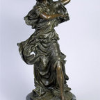 AA Importing - Lady w Tambourine Bronze Sculpture on Marble - Lady with tambourine design. Marble base. 23 in. H
